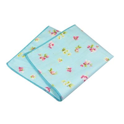 Light Sky Blue, Blue, Pink, Platinum and Green Onion Cotton Floral Pocket Square