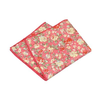 Bean Red, Tea Green, Rosy Brown, Mint green and Dark Orange Cotton Floral Pocket Square