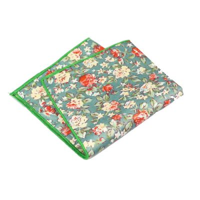 Green, Tea Green, Light Sea Green and Scarlet Cotton Floral Pocket Square