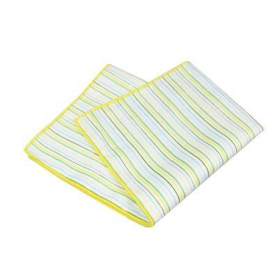 Tea Green, Green Onion, Light Sky Blue and Platinum Cotton Striped Pocket Square