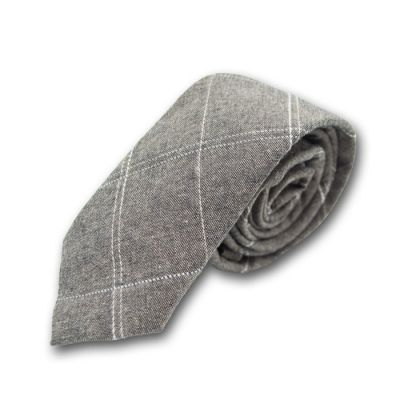 5cm Smokey Gray and White Cotton-Linen Blend Checkered Skinny Tie
