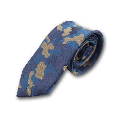 6cm Midnight Blue, Navy Blue, Lapis Blue and Golden Brown Polyester Camouflage Skinny Tie