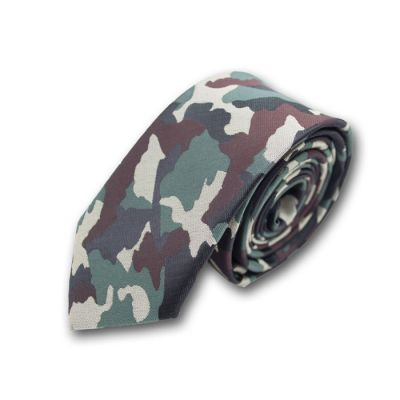 6cm Dark Forest Green, Fern Green, Lemon Chiffon and Brown Polyester Camouflage Skinny Tie
