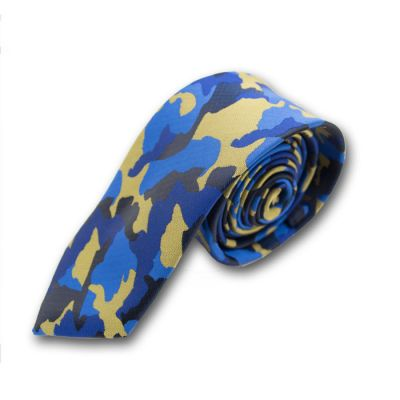 6cm Midnight Blue, Navy Blue, Blueberry Blue and Orange Gold Polyester Camouflage Skinny Tie