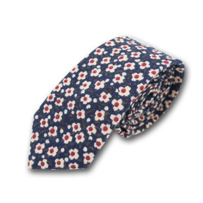 6cm Midnight Blue, School Bus Yellow and White Polyester Floral Skinny Tie