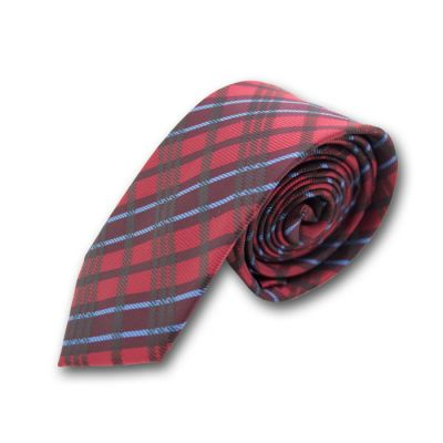 6cm Firebrick, Chilli Pepper and Blue Lotus Polyester Plaid Skinny Tie