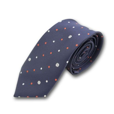 6cm Midnight Blue, Lava Red and White Polyester Polka Dot Skinny Tie