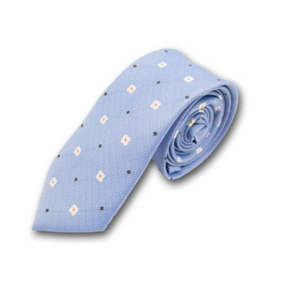 6cm Sky Blue, White, Mango Orange and Brown Polyester Floral Skinny Tie