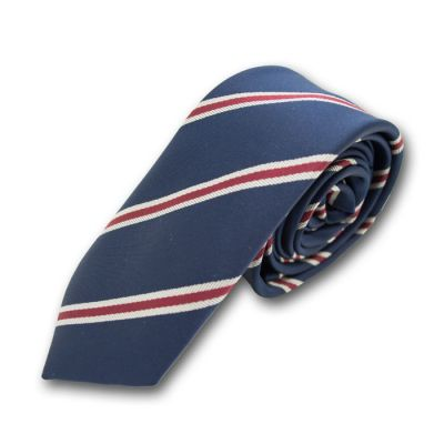 5cm Midnight Blue and Medium Forest Green Polyester Striped Skinny Tie