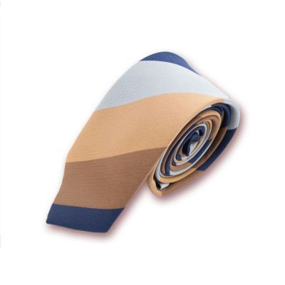 5cm Sepia, Brown Bear, Midnight Blue and Gray Cloud Polyester Striped Skinny Tie