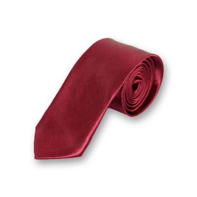 5cm Burgundy Polyester Solid Skinny Tie
