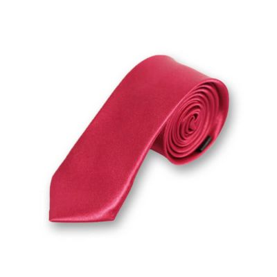 5cm Cranberry Polyester Solid Skinny Tie
