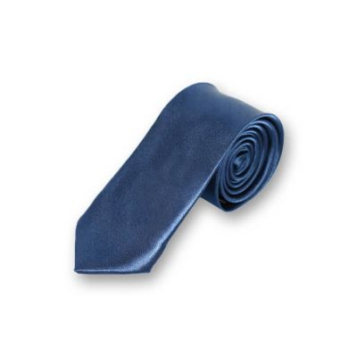 5cm Navy Blue Polyester Solid Skinny Tie