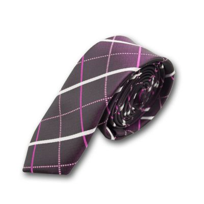 5cm Purple Jam, Neon Pink and White Polyester Plaid Skinny Tie