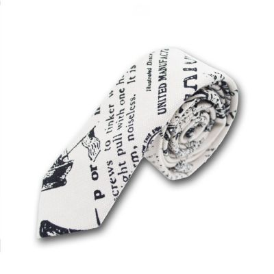 5cm White and Black Cotton-Linen Blend Novelty Skinny Tie