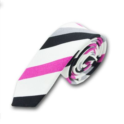 5cm Metallic Silver, Dark Carnation Pink, Purple Dragon and Black Polyester Striped Skinny Tie