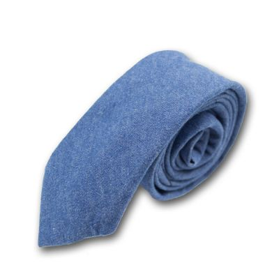 6cm Blueberry Blue Cotton-Linen Blend Solid Skinny Tie