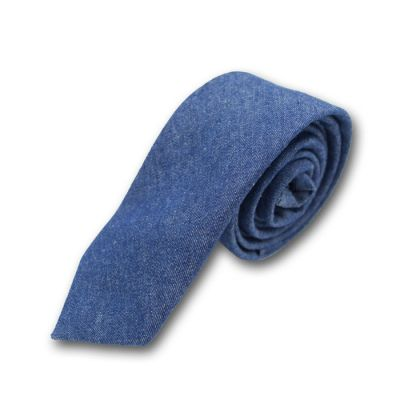 6cm Lapis Blue Cotton-Linen Blend Solid Skinny Tie