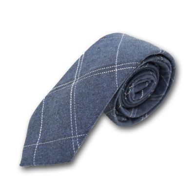 6cm Lapis Blue and White Cotton-Linen Blend Plaid Skinny Tie