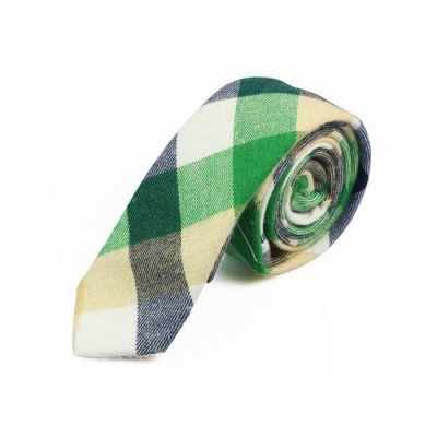 5cm Crystal Blue, White, Venom Green, Brown and Purple Iris Cotton Plaid Skinny Tie