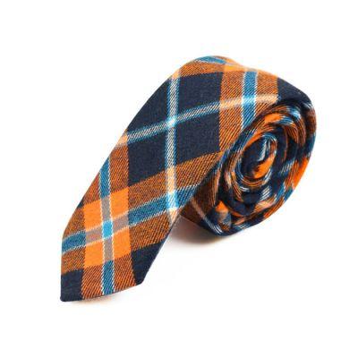5cm 午夜黑色、白色、紅豆色和涅色棉質方格領帶