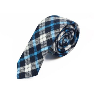 5cm Night, Crystal Blue, White and Baby Blue Cotton Plaid Skinny Tie