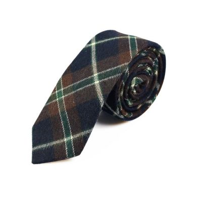 5cm Brown, White, Green and Black Eel Cotton Plaid Skinny Tie