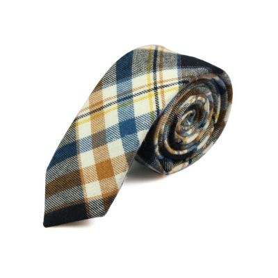 5cm White, Beer, Night, Purple Iris and Taupe Cotton Plaid Skinny Tie