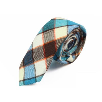 5cm Brown, White, Tiffany Blue and Bean Red Cotton Checkered Skinny Tie