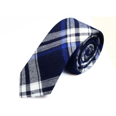 5cm Navy Blue, Black, White and Gray Dolphin Cotton Plaid Skinny Tie