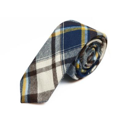 5cm White, Taupe, Grape, Tiffany Blue and Saffron Cotton Plaid Skinny Tie