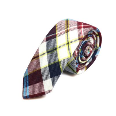 5cm Gray Dolphin, White, Night, Crystal Blue and Saffron Cotton Plaid Skinny Tie