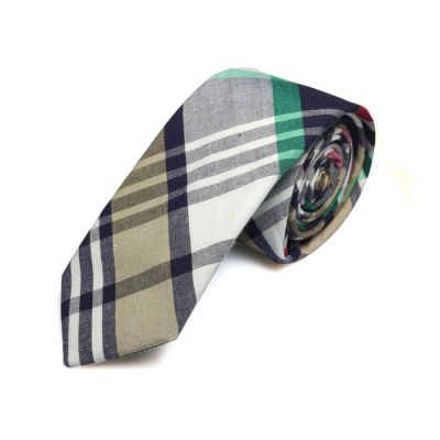 5cm Black Eel, Green, Baby Blue and White Cotton Plaid Skinny Tie