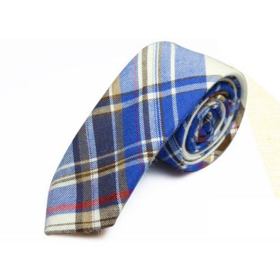 5cm Midnight Blue, Cobalt Blue, White, Chilli Pepper and Cookie Brown Cotton Plaid Skinny Tie