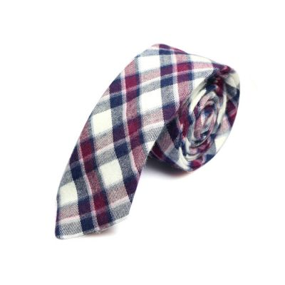 5cm Charcoal, White, Black Eel and Bean Red Cotton Plaid Skinny Tie
