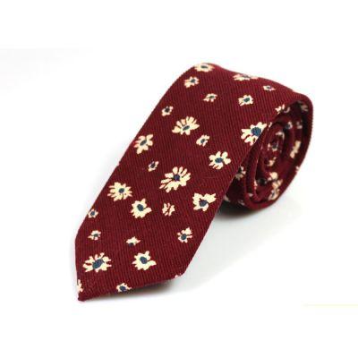6cm 酒紅色、葡萄紫和白色棉質花紋圖案領帶