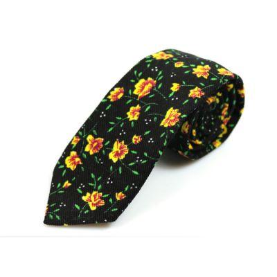 6cm 黃色、午夜黑色、紅豆色和綠色棉質花紋圖案領帶