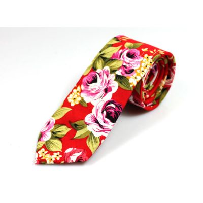 6cm 紅色、蔥綠色、芥末色、白色、靛青色和暗粉色棉質花紋圖案領帶
