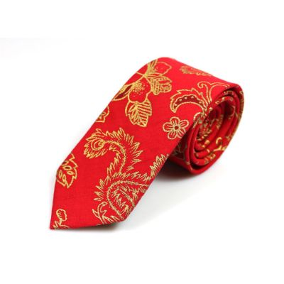 6cm Red and Orange Gold Cotton Floral Skinny Tie