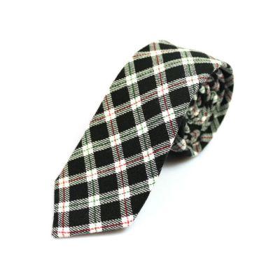 6cm 黑色、貝殼色、午夜黑色和中森林綠色棉質格紋領帶