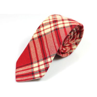 6cm Red, SeaShell, Black and Light Salmon Cotton Plaid Skinny Tie