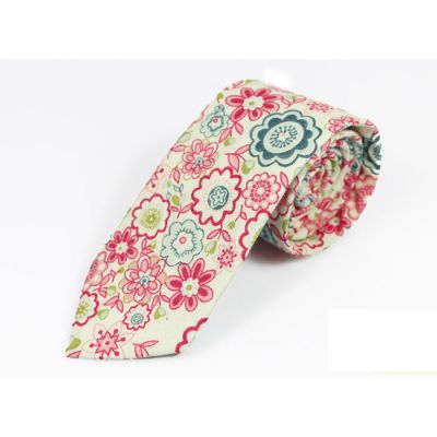 6cm Bean Red, Teal, Mustard and Blue green Cotton Floral Skinny Tie