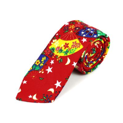 6cm 紅色、黃色、白色、綠色和寶藍色棉質有趣圖案領帶