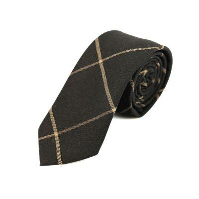 6cm 深灰色和駝色棉質方格領帶