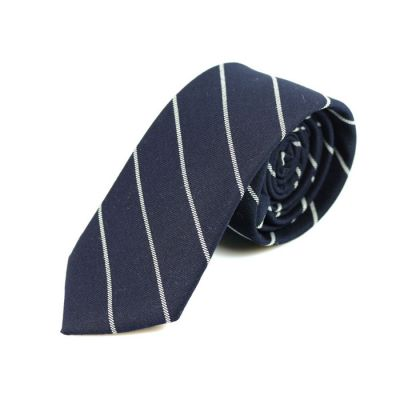 6cm Midnight Blue and White Cotton Striped Skinny Tie