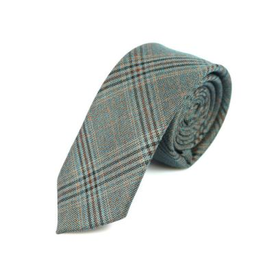 6cm Light Sea Green, Black Eel and Sepia Cotton Plaid Skinny Tie