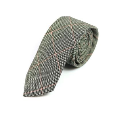 6cm Black, Bean Red and White Cotton Plaid Skinny Tie