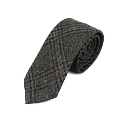 6cm Black, White and Cranberry Cotton Plaid Skinny Tie