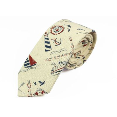 6cm SeaShell, Chestnut and Sapphire Blue Cotton Novelty Skinny Tie
