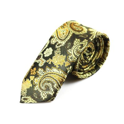 6cm Iridium, Yellow, Harvest Gold and White Polyester Paisley Skinny Tie